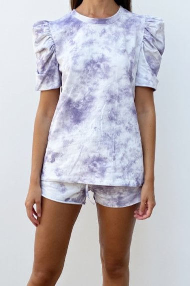 Tie Dye Lilac Puff Sleeve Loungewear Co-ord Short Set