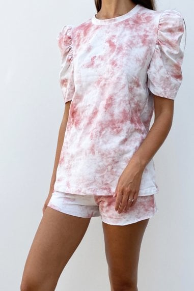 Tie Dye Pink Puff Sleeve Loungewear Co-ord Short Set