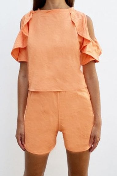 Cold Shoulder Frill Loungewear Co-ord In Orange