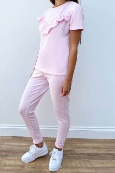 Ruffle Co-od Loungewear Set In Pink