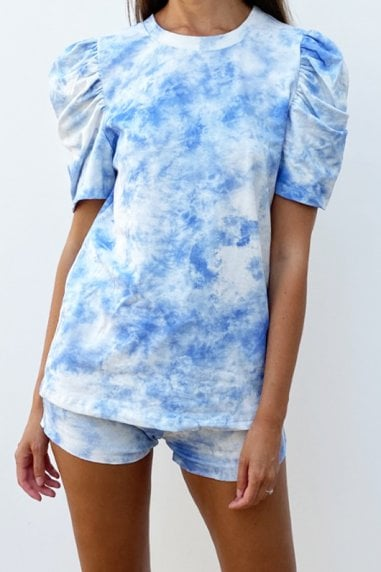 Tie Dye Blue Puff Sleeve Loungewear Co-rd Short Set