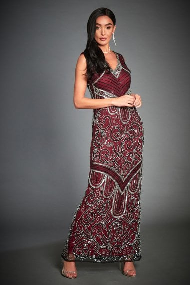 EMBELLISHED ART DECO EVENING MAXI DRESS