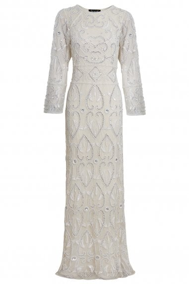 EMBELLISHED OFF WHITE LONG SLEEVE BOHO WEDDING GOWN