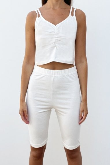 Outrageous Fortune Loungewear Strappy Crop Top In Cream