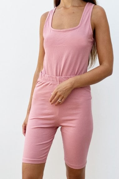 Outrageous Fortune Loungewear Bodycon Short In Rose