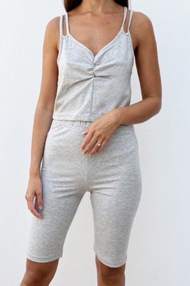 Outrageous Fortune Loungewear Strappy Crop Top In Grey