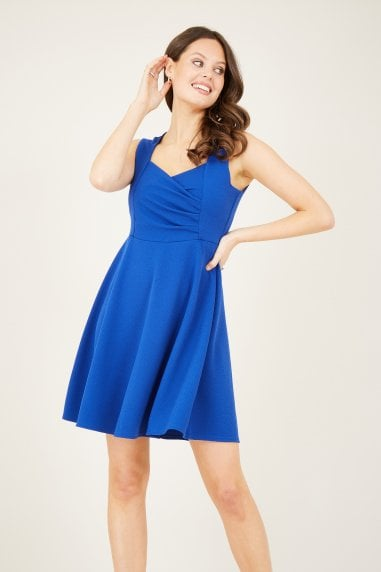 Blue Ruched Skater Dress