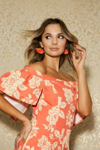 Lambeth Warm Orange Floral-Print Belted Cape Bardot Dress