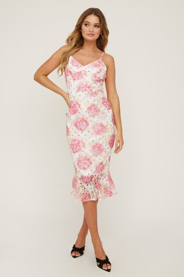 Hatton Floral-Print Lace Frill Midi Dress