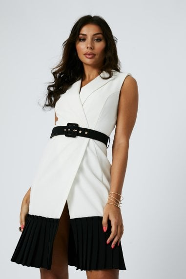 Crescent Monochrome Pleated Hem Belted Mini Dress