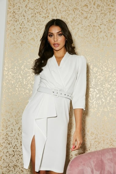 Kensal White Frill Belted Bodycon Dress