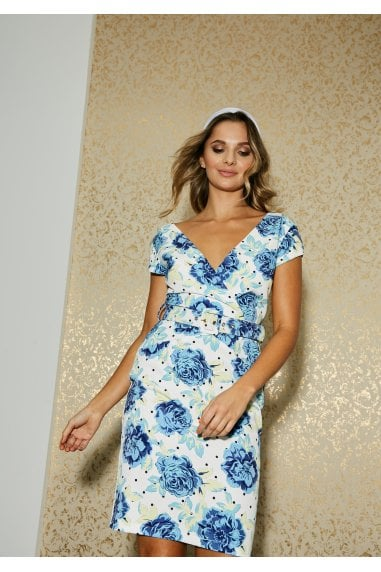 Hackney Blue Floral-Print Belted Dress