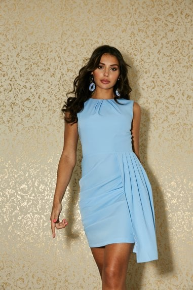 Shoreditch Alaska Blue Asymmetric Drape Mini Dress
