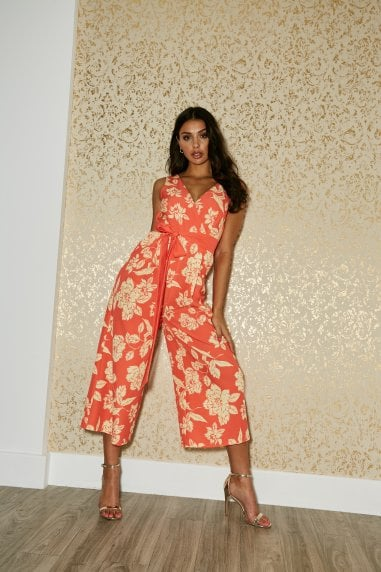 Beaufort Warm Orange Floral-Print Midaxi Culotte Jumpsuit