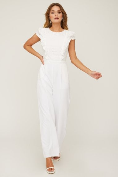 Finchley White Lace Frill Jumpsuit