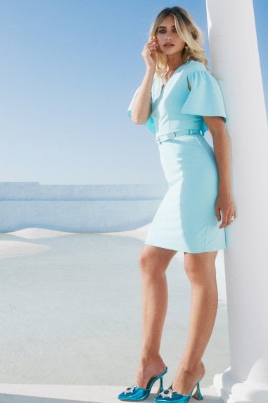 Camden Aqua Sky Belted Cape Pencil Dress
