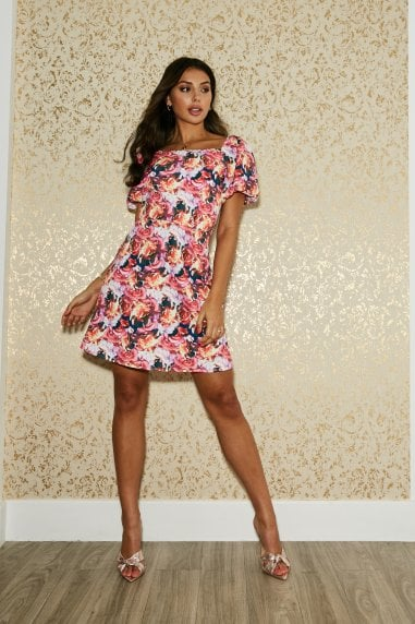 Putney Rose Floral-Print Puff Sleeve Mini Dress