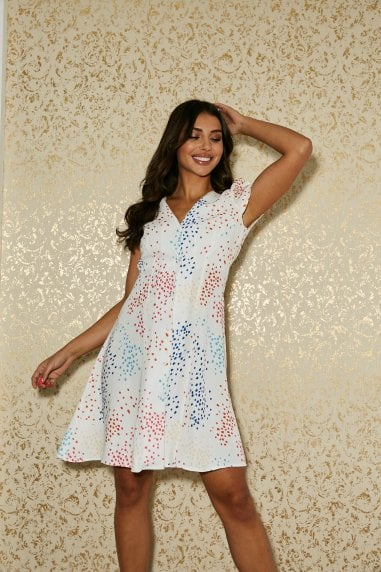 Calver White Spot-Print Button Through Swing Dress