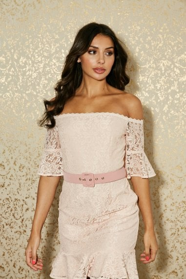 Heron Pink Almond Lace Bardot Belted Mini Dress