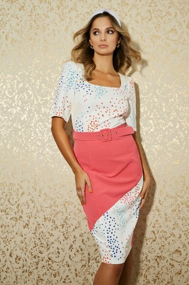 Poplar White Spot-Print Colour Block Belted Dress