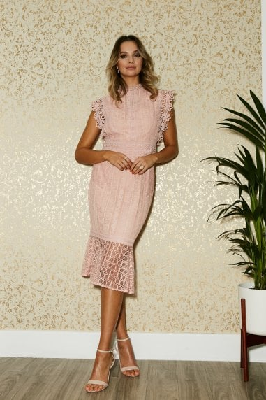Latimer Pale Pink Lace Pephem Midi Dress