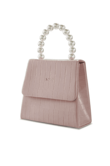 Blush pink vegan leather pearl drop handbag