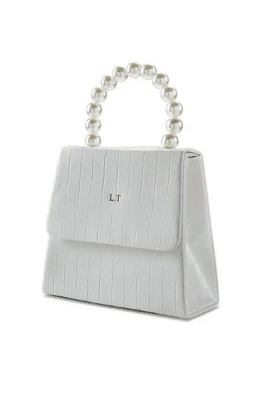 White vegan leather pearl drop handbag