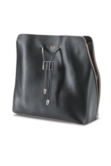 Black vegan leather slouchy bag
