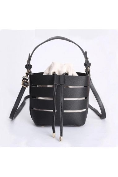 Out Shoulder Bag Bucket Handbag In Black