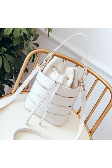 Out Shoulder Bag Bucket Handbag In White