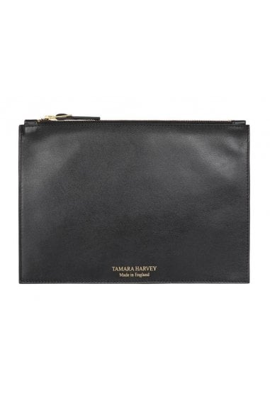 Black Leather Zip Pouch