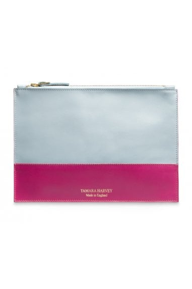 Duck Egg Blue & Pink Leather Zip Pouch
