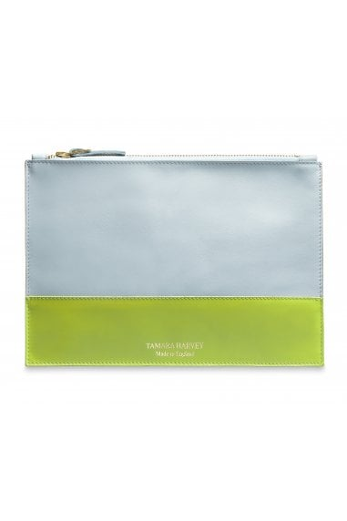 Duck Egg Blue & Lime Leather Zip Pouch