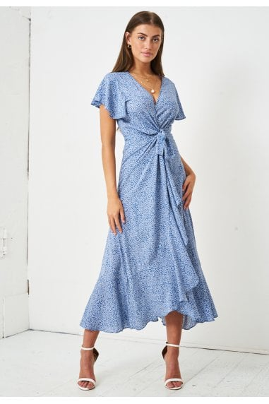Ditsy Floral Short Sleeve Maxi Wrap Dress | Blue