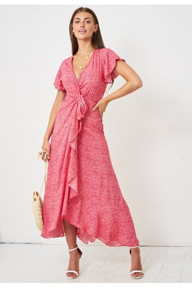 Ditsy Floral Short Sleeve Maxi Wrap Dress | Red