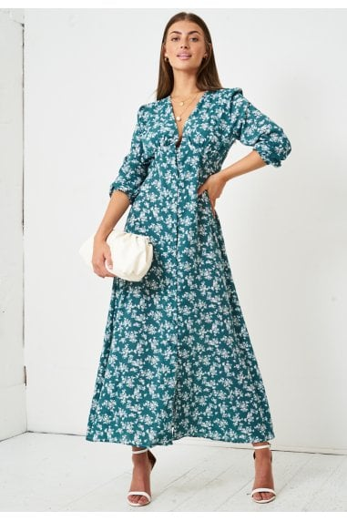 Floral Ditsy Empire Waist Maxi Dress | Green
