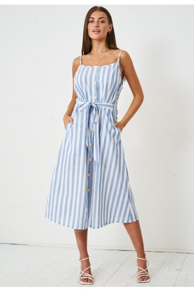 Striped Midi Dress | Blue
