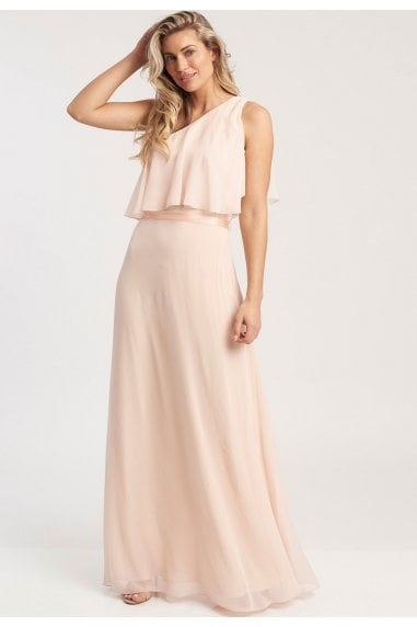 Anastasia One Shoulder Maxi Dress In Nude