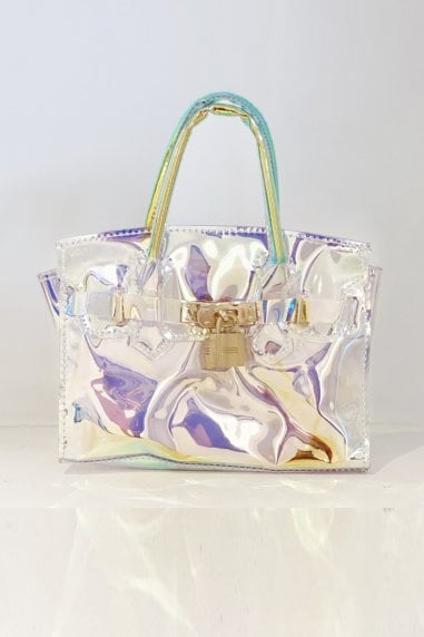 Light Surface Transparent Single Shoulder Square Bag With Lock