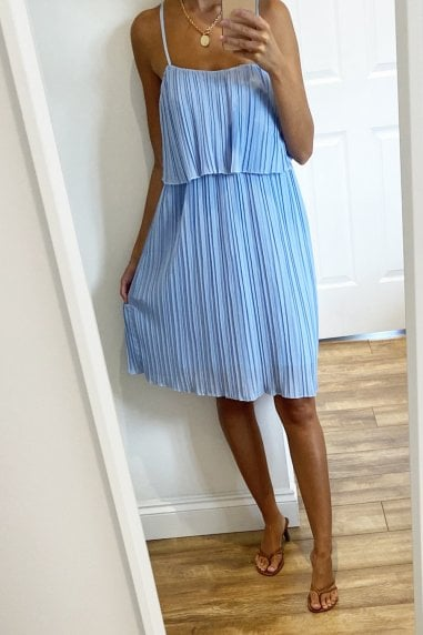 Strappy Pleated Ruffle Mini Dress In Blue