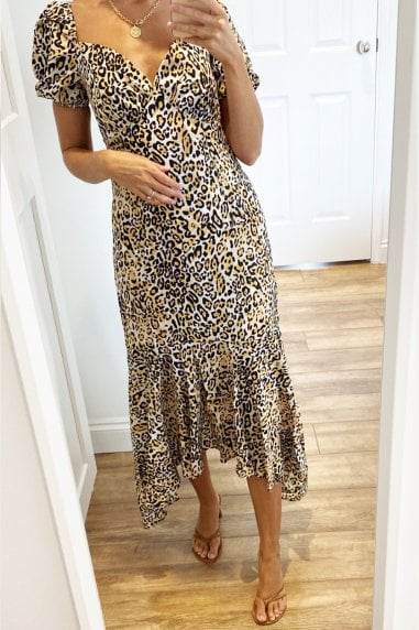 Animal Print Sweetheart Neckline Midi Dress