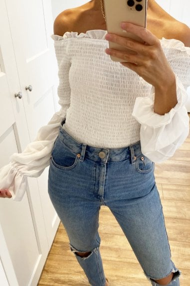 Shirred Detail Long Sleeve White Top