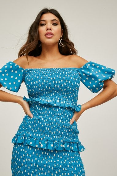 Major Blue Polka-Dot Bardot Midi Dress