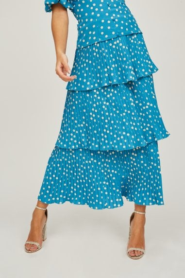 Pace Blue Polka-Dot Tiered Midi Skirt Co-ord