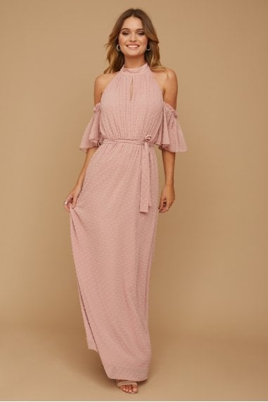 Emery Dusty Rose Dobby Spot Halterneck Maxi Dress