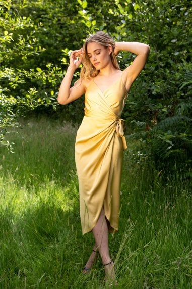 Tie Side Cami Wrap Dress in Yellow