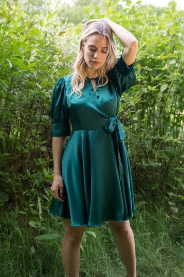 Satin Wrap Mini Dress with Keyhole in Green