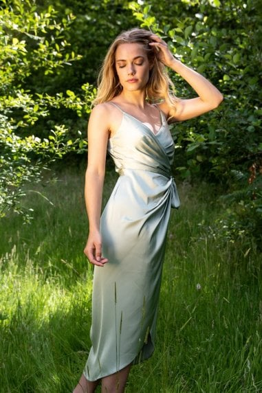 Tie Side Cami Wrap Dress in Sage Green