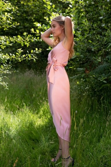 Tie Side Cami Wrap Dress in Pink