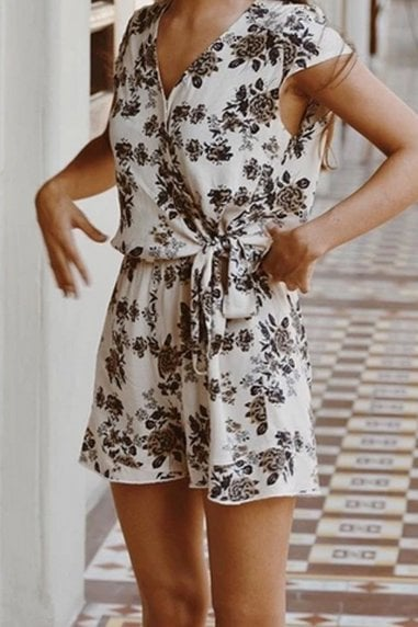 Ararose Clothing Floral Playsuit - Navy & Cream